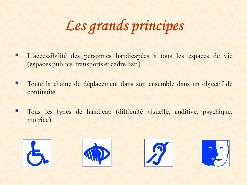Les grands principes L'accessibilité des personnes handicapées à tous les espaces de vie (espaces publics, transports et cadre bâti).
