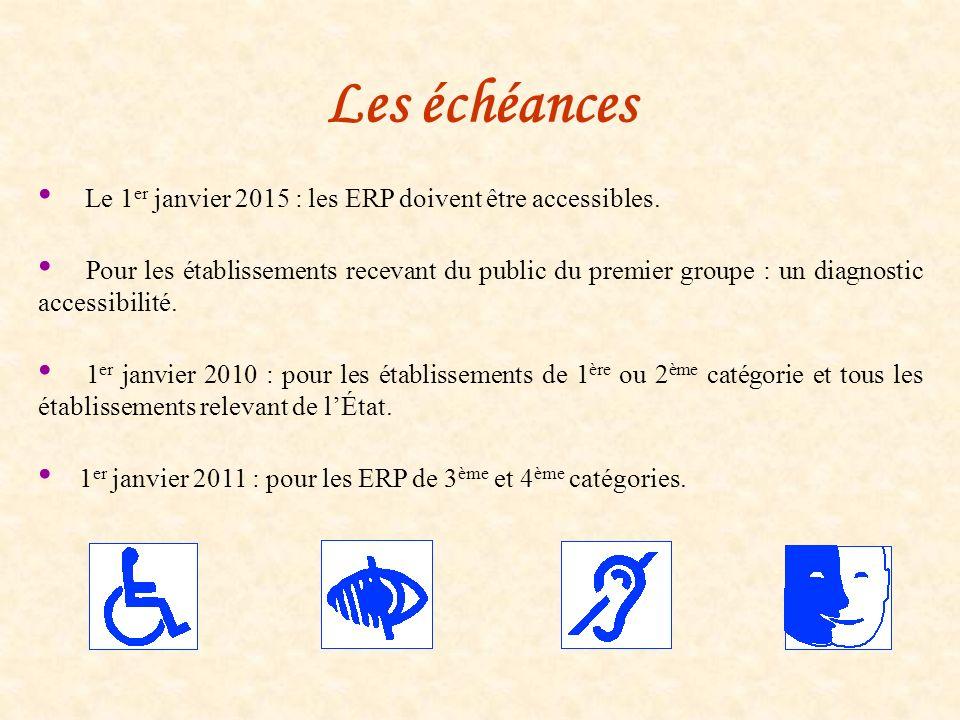 Les échéances Le 1er janvier 2015 : les ERP doivent être accessibles.