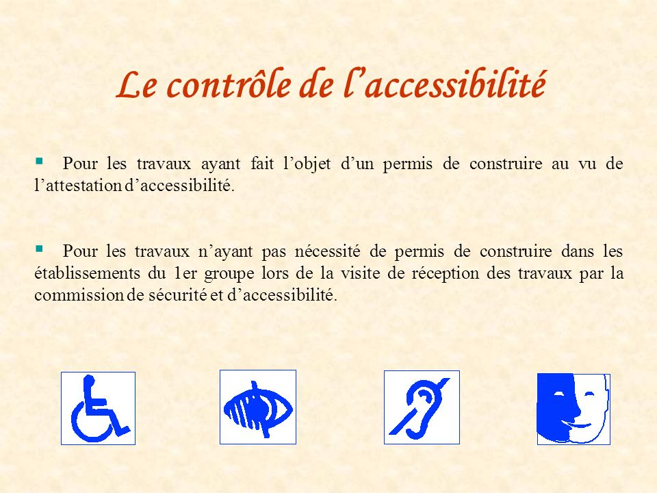 Le contrôle de l'accessibilité
