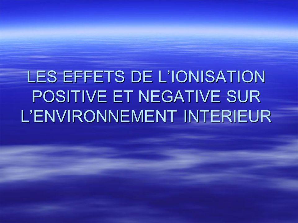 LES EFFETS DE L'IONISATION POSITIVE ET NEGATIVE SUR L'ENVIRONNEMENT INTERIEUR