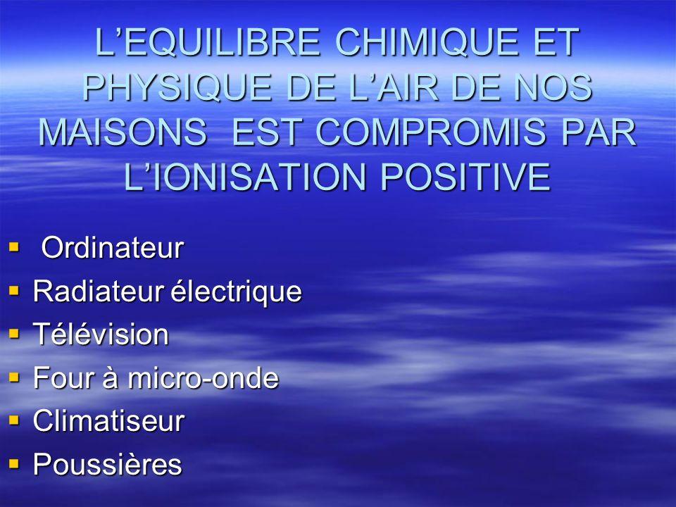 L'EQUILIBRE CHIMIQUE ET PHYSIQUE DE L'AIR DE NOS MAISONS EST COMPROMIS PAR L'IONISATION POSITIVE