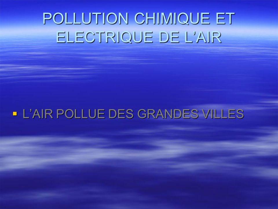 POLLUTION CHIMIQUE ET ELECTRIQUE DE L'AIR