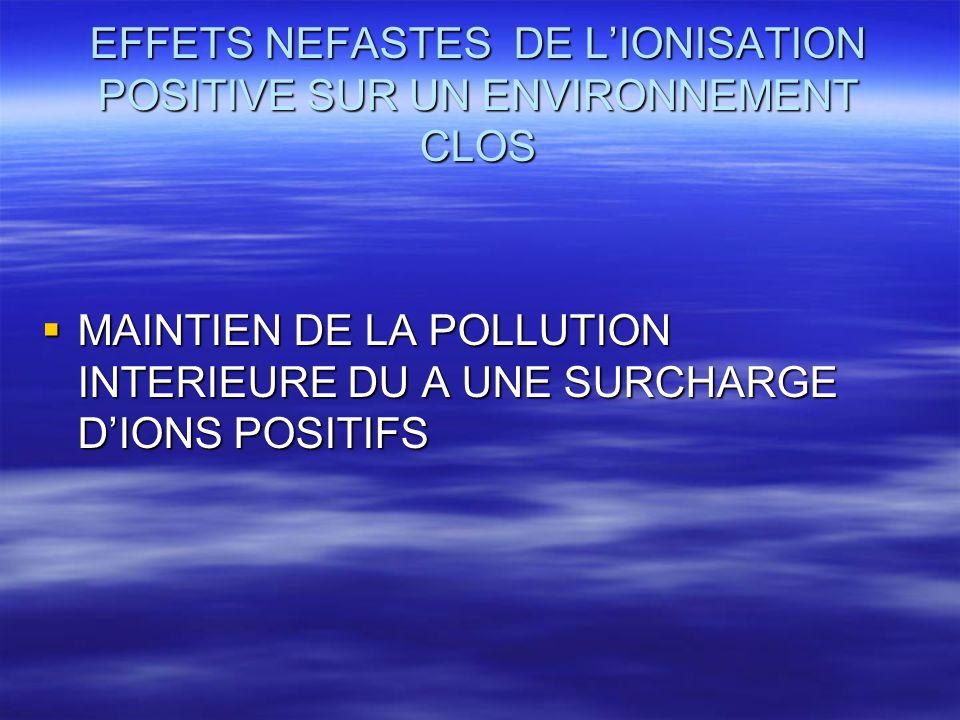 EFFETS NEFASTES DE L'IONISATION POSITIVE SUR UN ENVIRONNEMENT CLOS