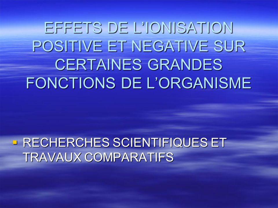 EFFETS DE L'IONISATION POSITIVE ET NEGATIVE SUR CERTAINES GRANDES FONCTIONS DE L'ORGANISME