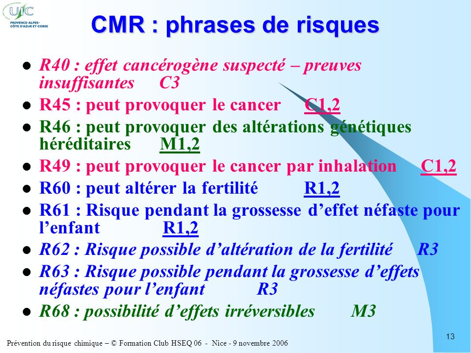 CMR : phrases de risques