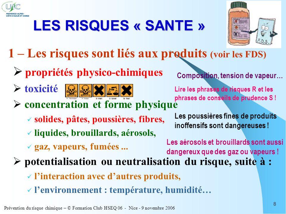 LES RISQUES « SANTE » 1 – Les risques sont liés aux produits (voir les FDS) propriétés physico-chimiques.
