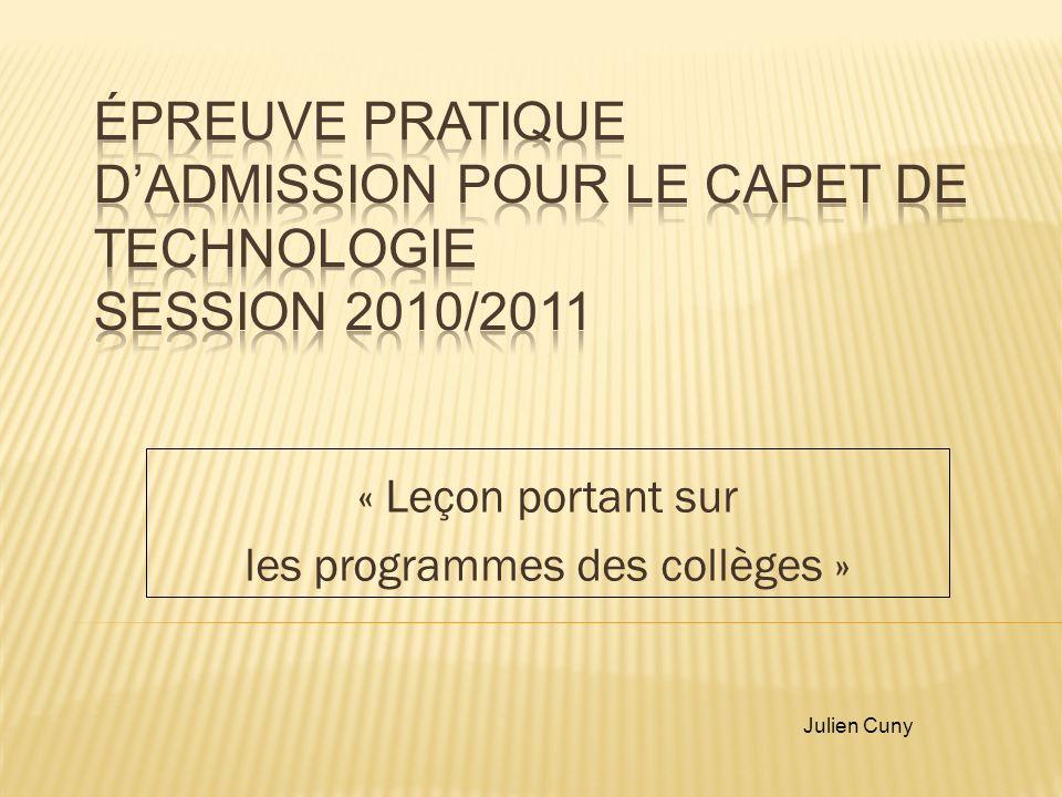 « Leçon portant sur les programmes des collèges »