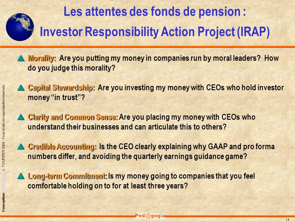 Les attentes des fonds de pension : Investor Responsibility Action Project (IRAP)