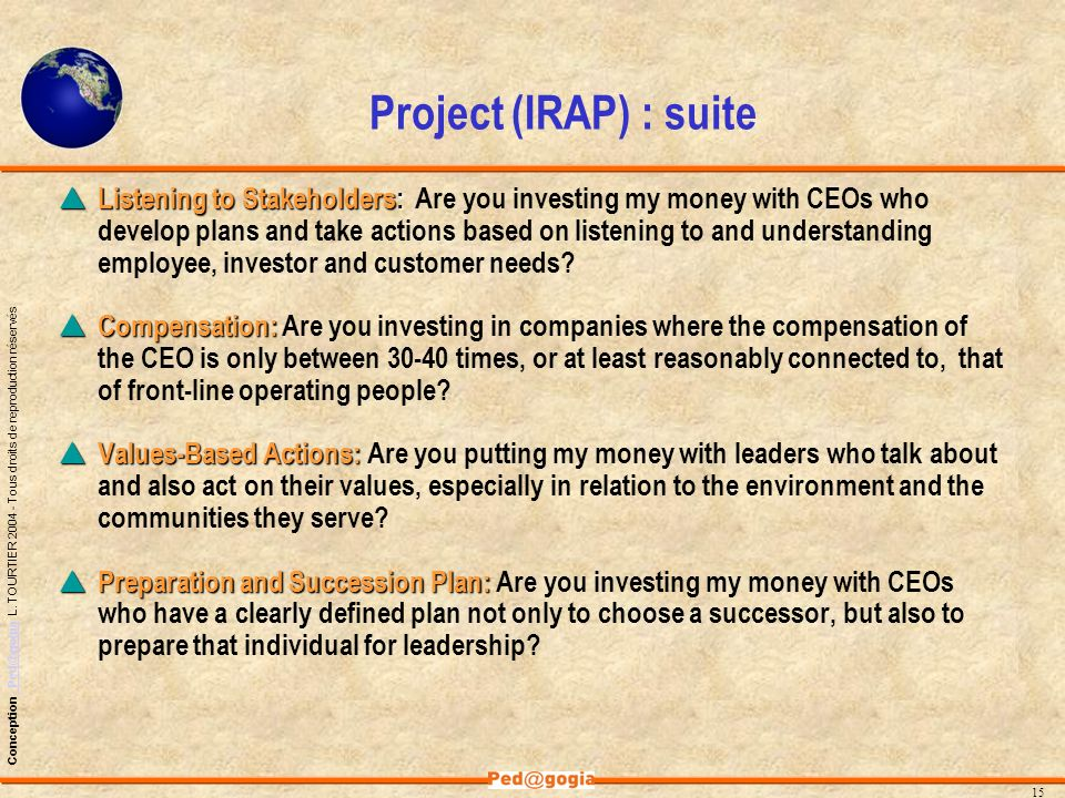 Project (IRAP) : suite