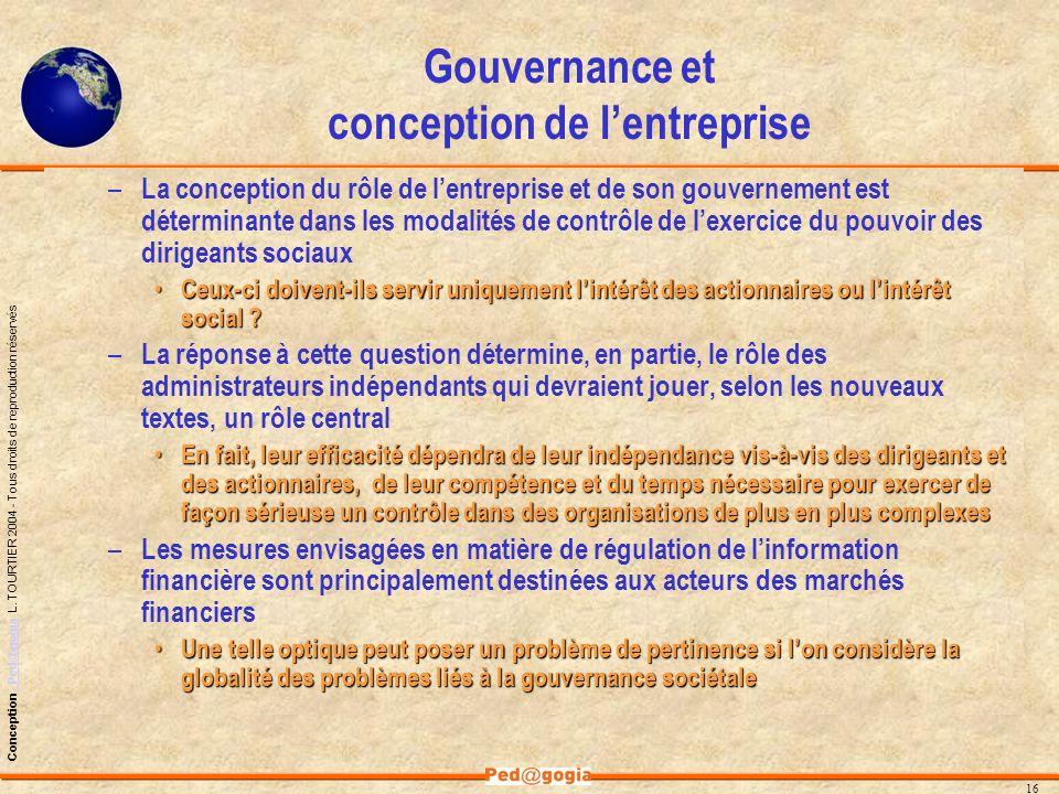 Gouvernance et conception de l'entreprise