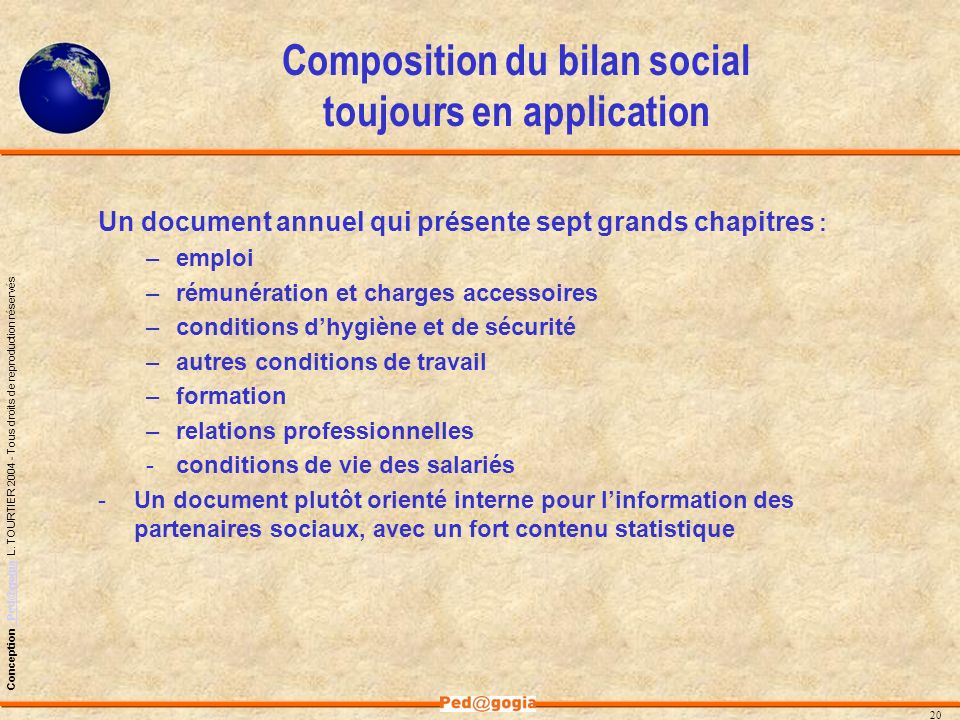 Composition du bilan social toujours en application