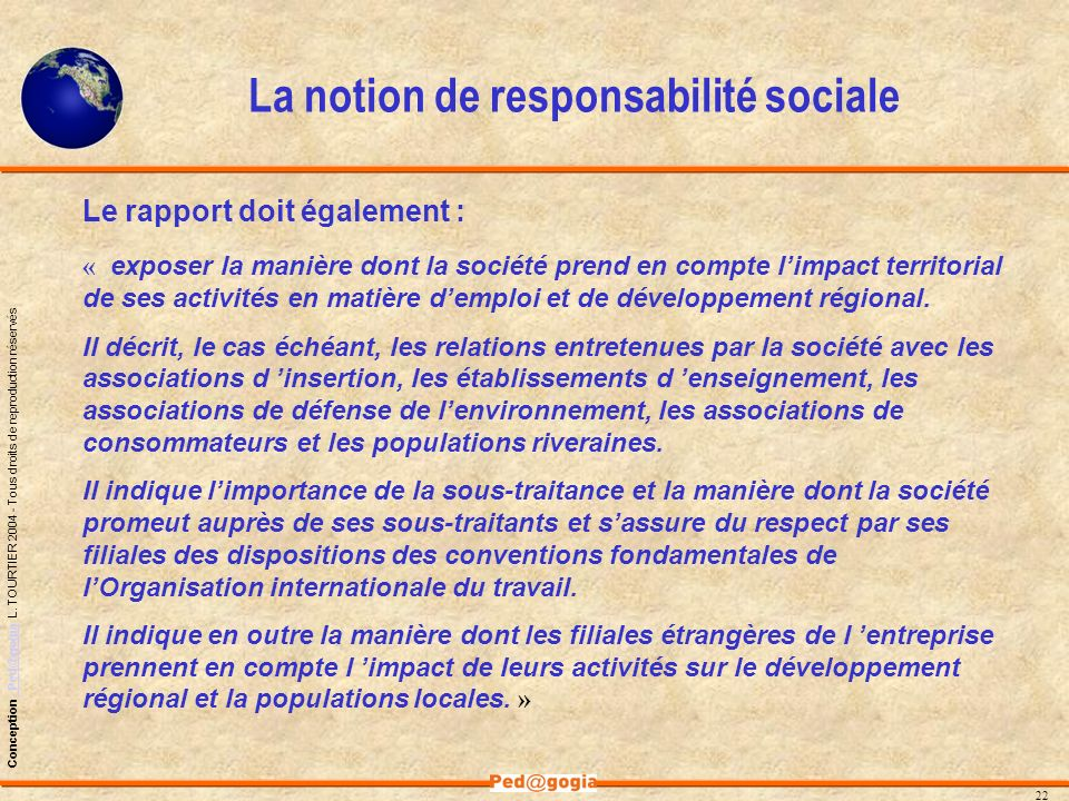 La notion de responsabilité sociale