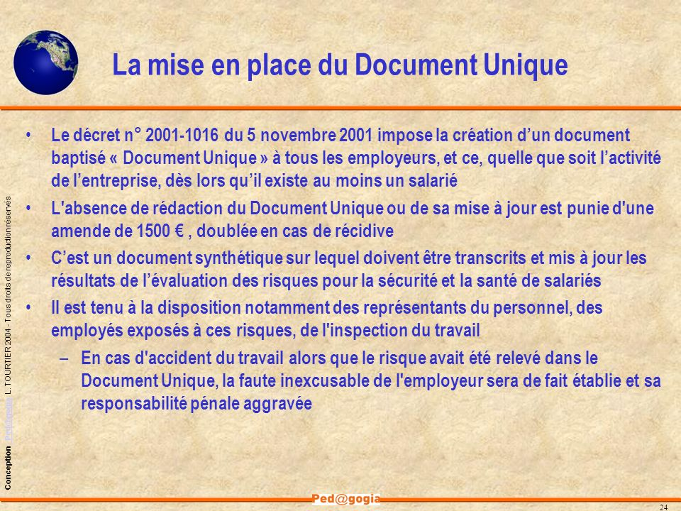 La mise en place du Document Unique