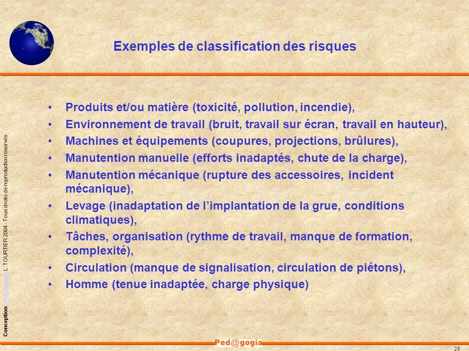 Exemples de classification des risques