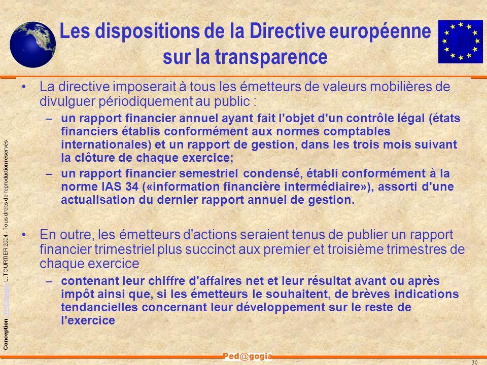 Les dispositions de la Directive européenne sur la transparence