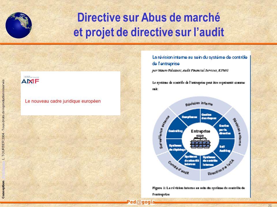 Directive sur Abus de marché et projet de directive sur l'audit
