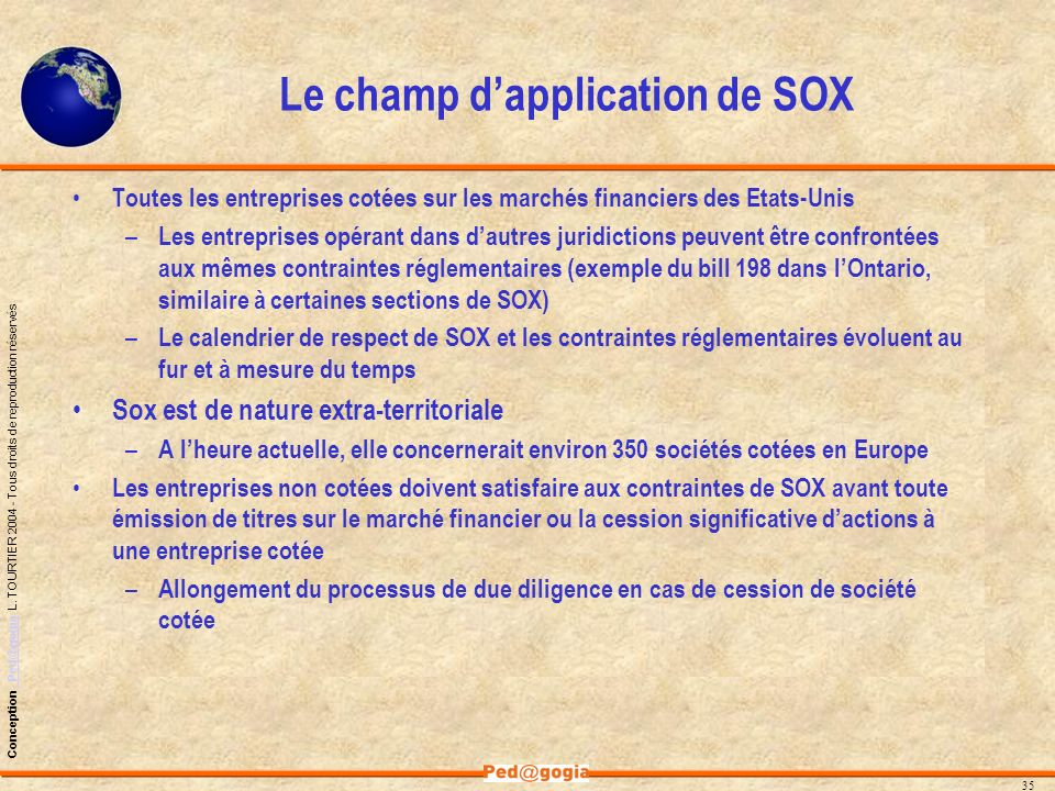 Le champ d'application de SOX