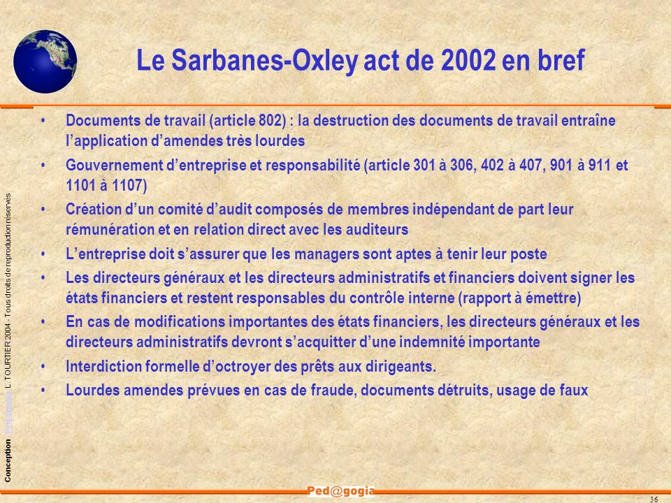 Le Sarbanes-Oxley act de 2002 en bref