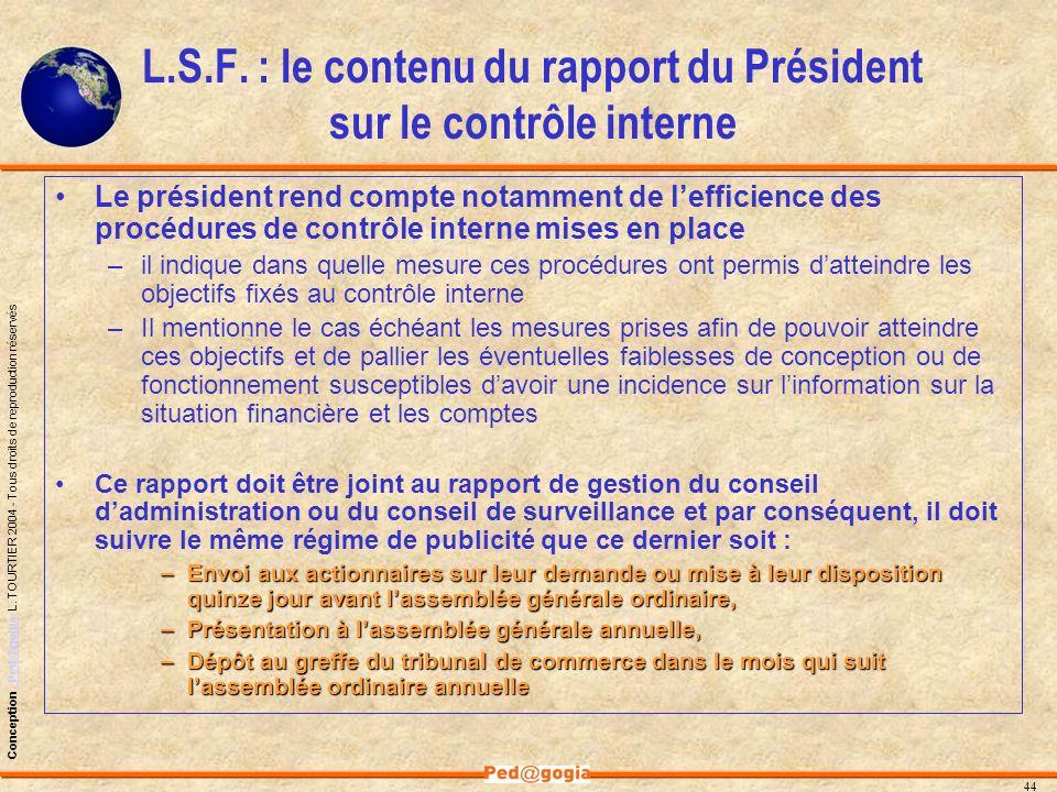 L.S.F. : le contenu du rapport du Président sur le contrôle interne