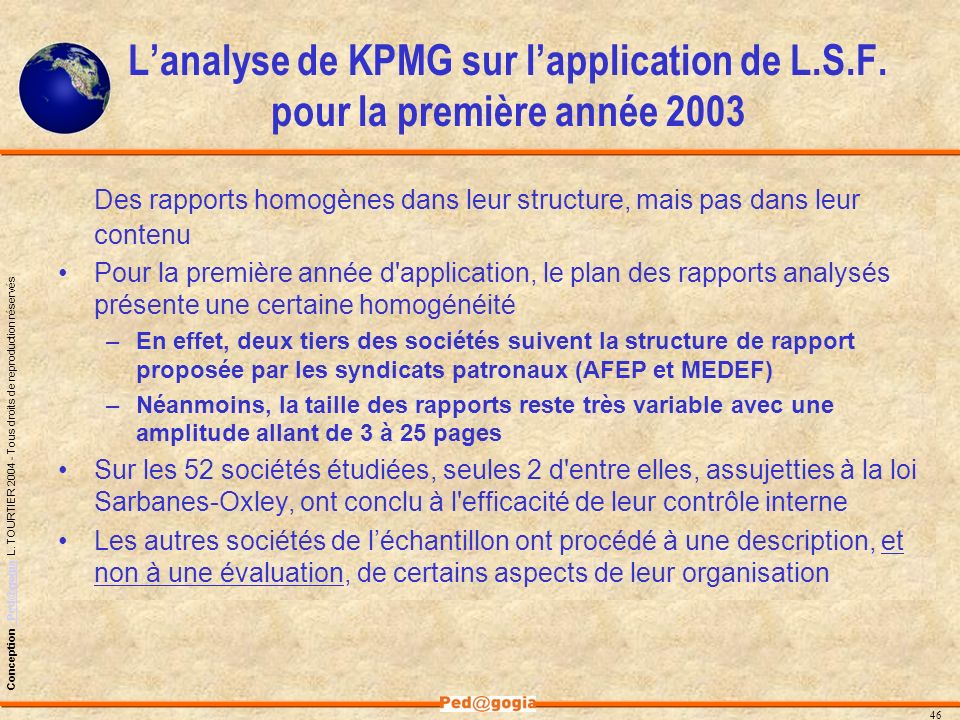 L'analyse de KPMG sur l'application de L. S. F