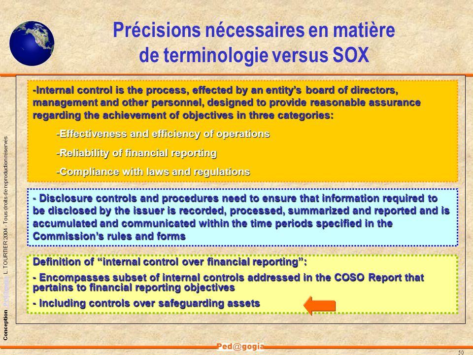 Précisions nécessaires en matière de terminologie versus SOX