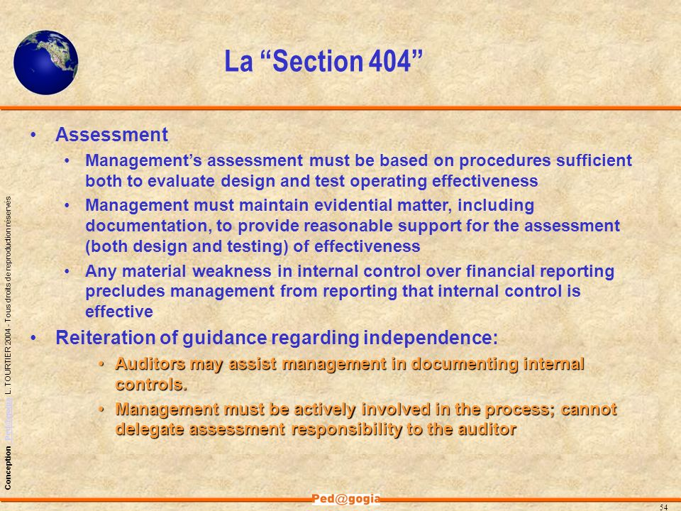 La Section 404 Assessment