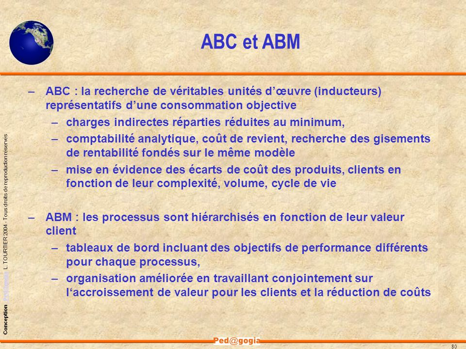 ABC et ABM ABC : la recherche de véritables unités d'œuvre (inducteurs) représentatifs d'une consommation objective.