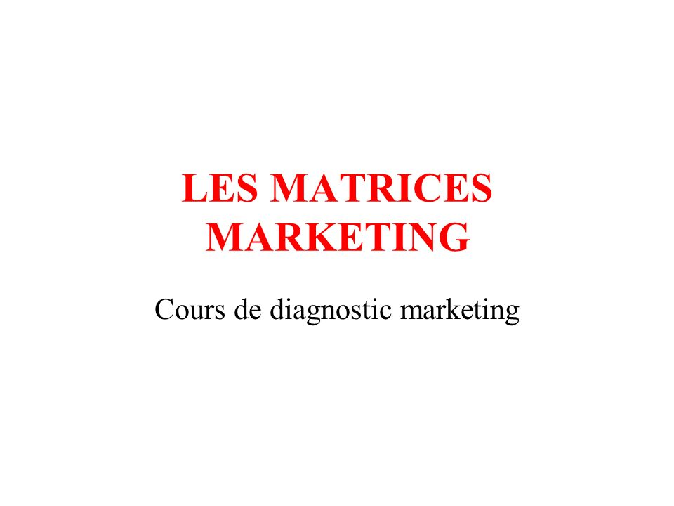 LES MATRICES MARKETING