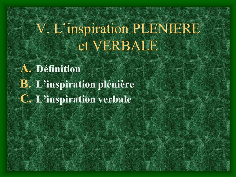 V. L'inspiration PLENIERE et VERBALE