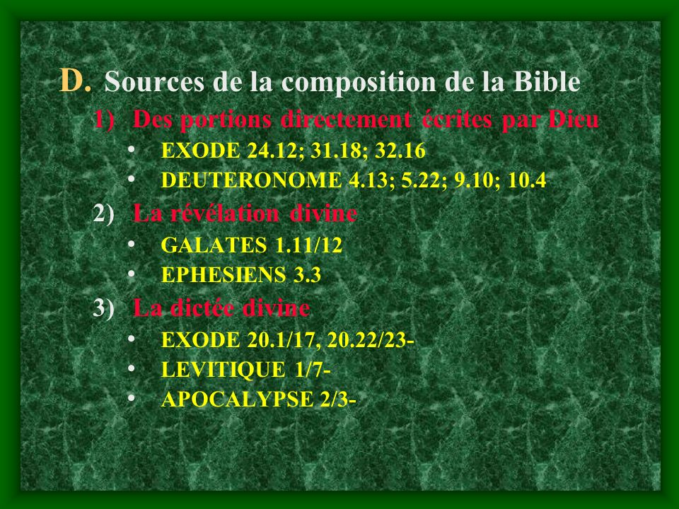Sources de la composition de la Bible