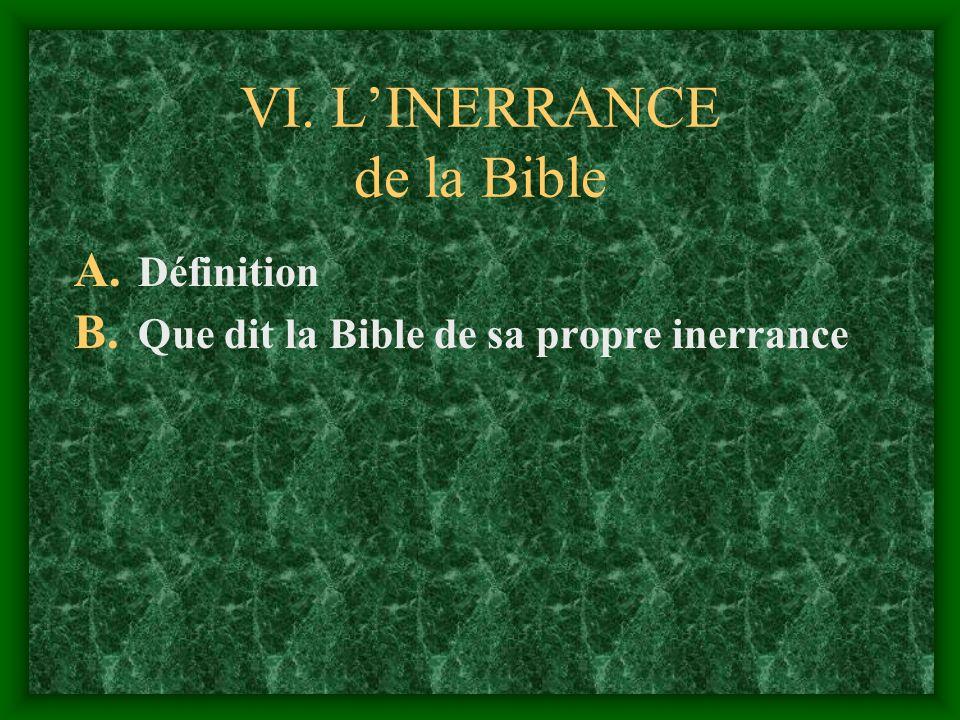 VI. L'INERRANCE de la Bible