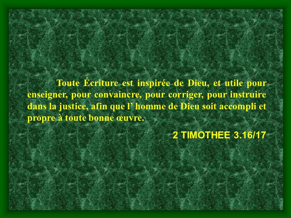 Toute Écriture est inspirée de Dieu, et utile pour enseigner, pour convaincre, pour corriger, pour instruire dans la justice, afin que l' homme de Dieu soit accompli et propre à toute bonne œuvre.