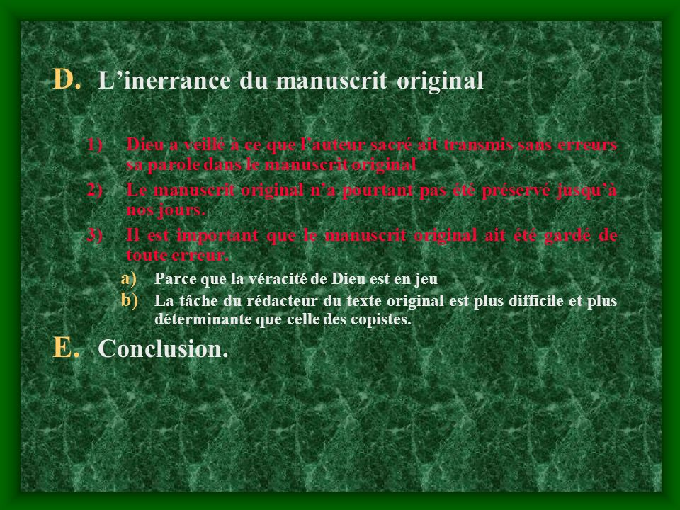 L'inerrance du manuscrit original