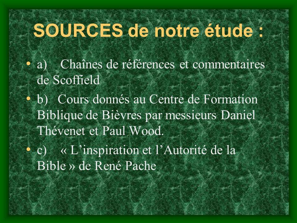 SOURCES de notre étude :