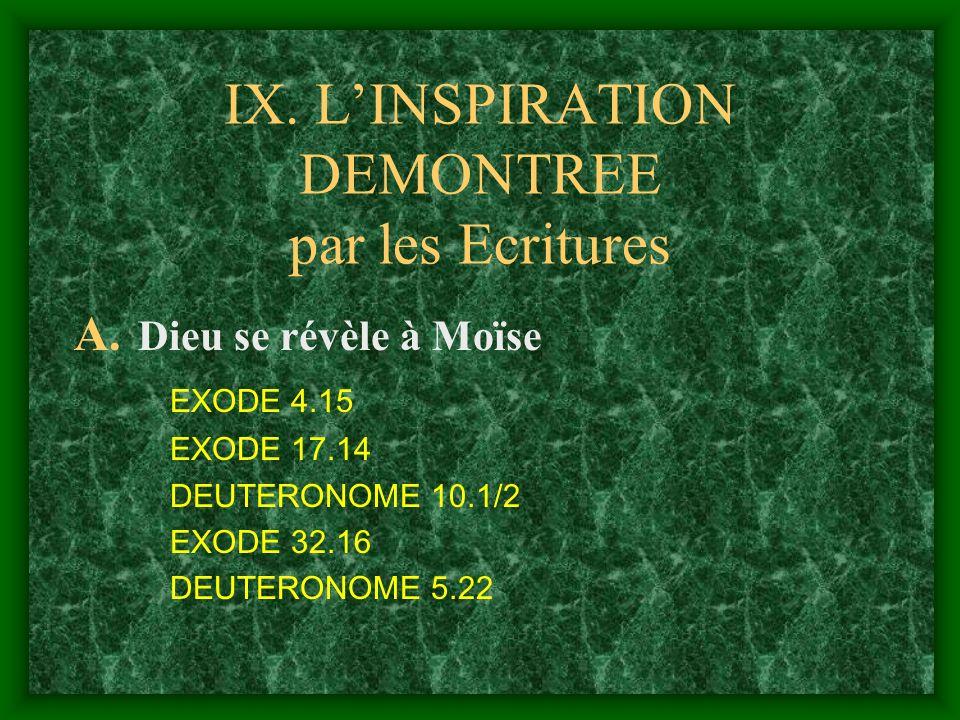 IX. L'INSPIRATION DEMONTREE par les Ecritures