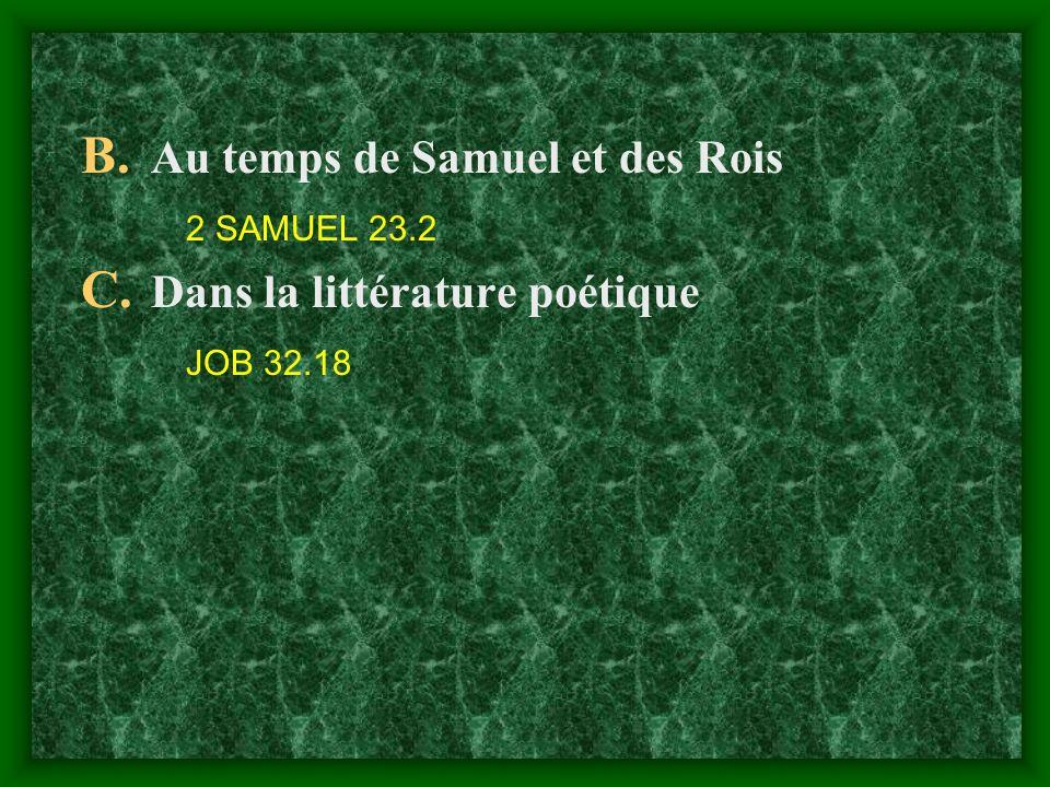 Au temps de Samuel et des Rois