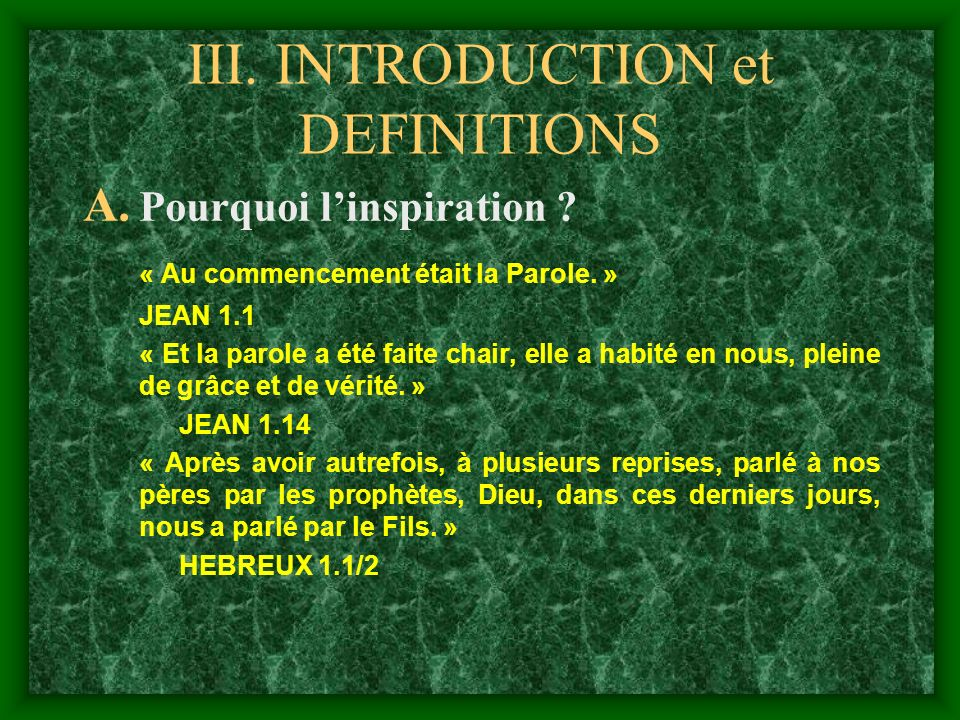 III. INTRODUCTION et DEFINITIONS