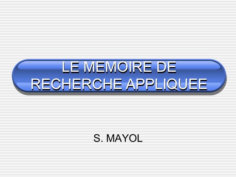 LE MEMOIRE DE RECHERCHE APPLIQUEE