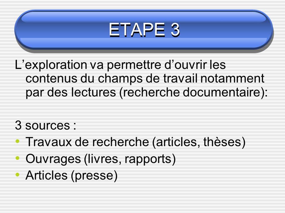 ETAPE 3 L'exploration va permettre d'ouvrir les contenus du champs de travail notamment par des lectures (recherche documentaire):