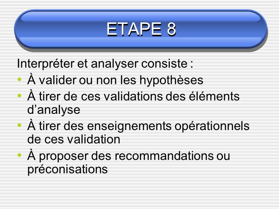 ETAPE 8 Interpréter et analyser consiste :