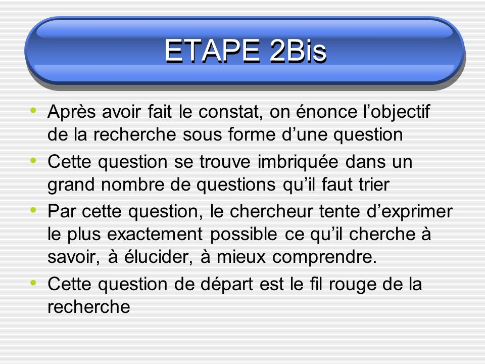 ETAPE 2BisAprès avoir fait le constat, on énonce l'objectif de la recherche sous forme d'une question.