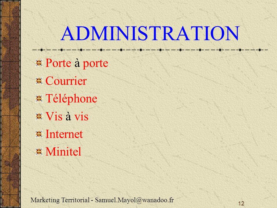 ADMINISTRATION Porte à porte Courrier Téléphone Vis à vis Internet