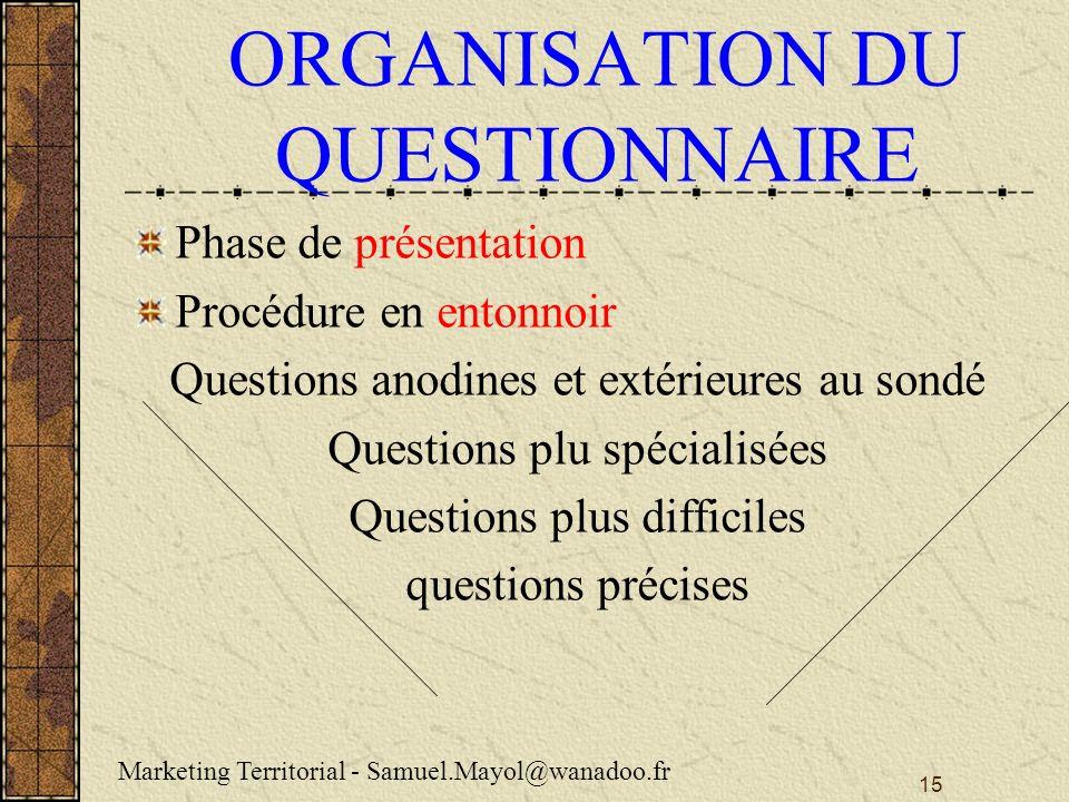 ORGANISATION DU QUESTIONNAIRE