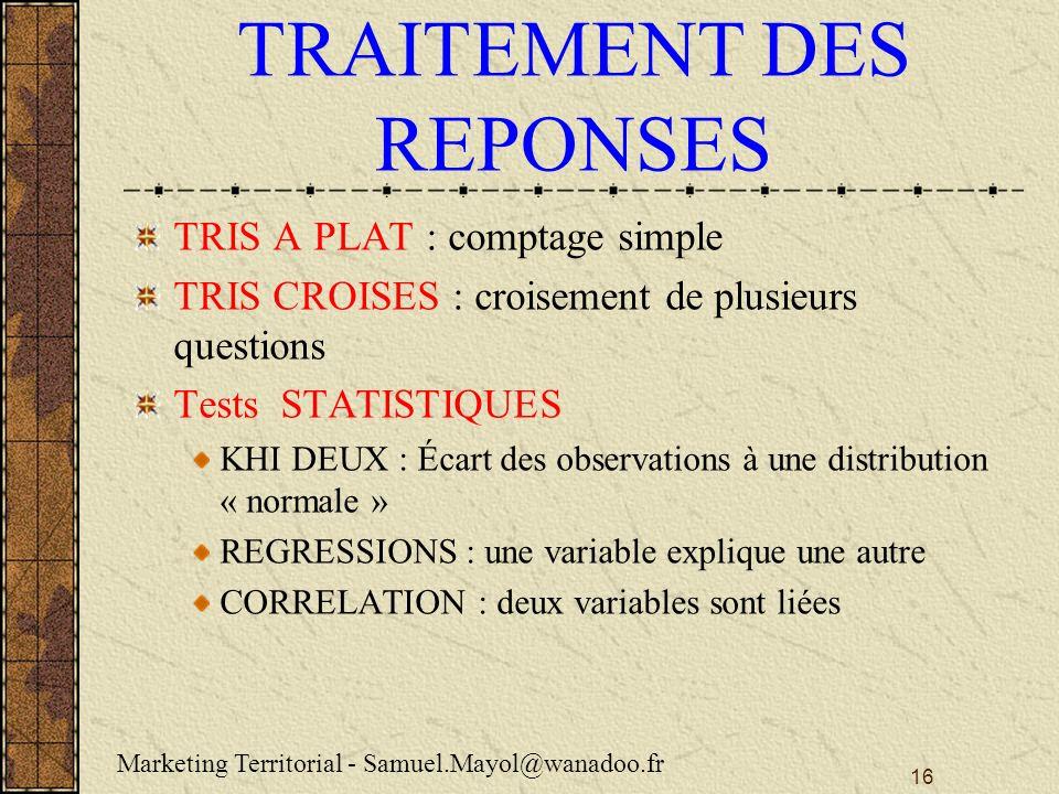 TRAITEMENT DES REPONSES
