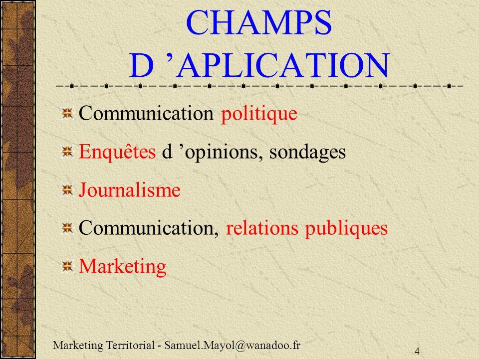 CHAMPS D 'APLICATION Communication politique