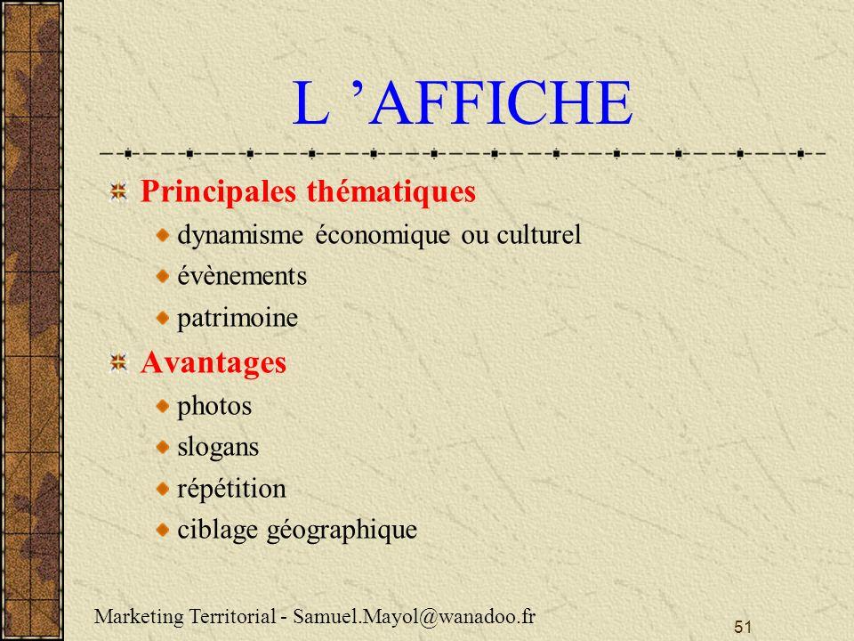 L 'AFFICHE Principales thématiques Avantages