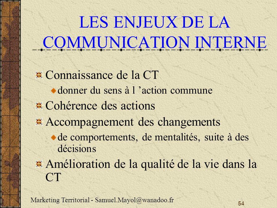 LES ENJEUX DE LA COMMUNICATION INTERNE
