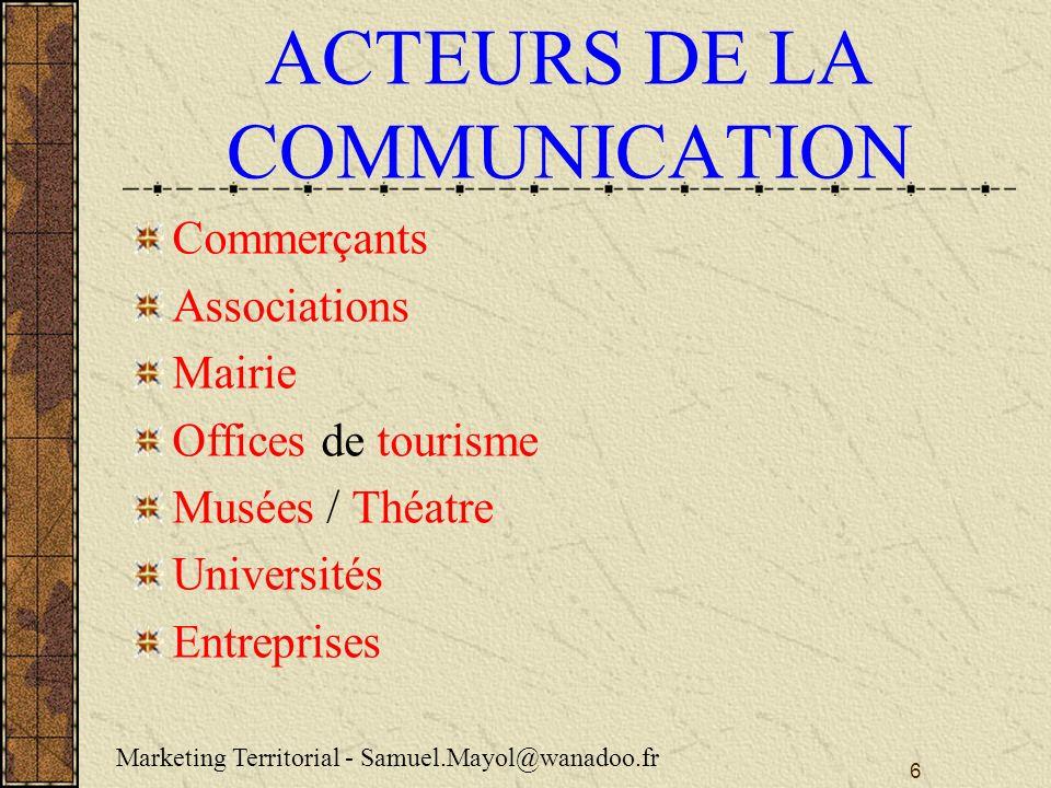 ACTEURS DE LA COMMUNICATION