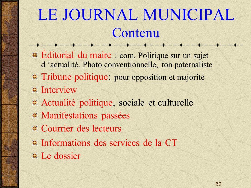 LE JOURNAL MUNICIPAL Contenu