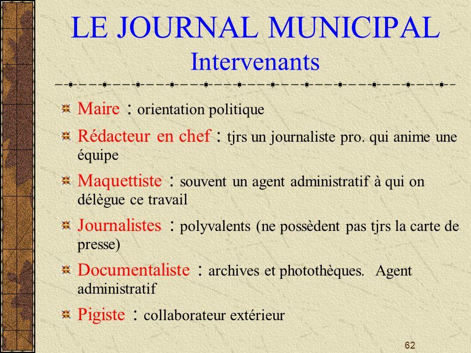 LE JOURNAL MUNICIPAL Intervenants